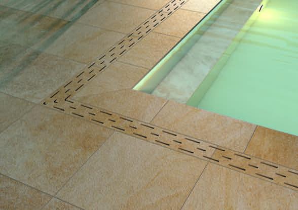 Foto Anwendungsbeispiel Von Feinsteinzeug 20mm, Pool Innen Mit Wasser Und Ablauf