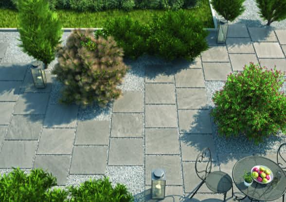 Foto Mit Blick Von Oben Auf Anwendungsbeispiel Von Feinsteinzeug 20mm Terrassenplatten Und Weg Zum Garten